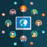 Social network flat illustration with avatars Royalty Free Stock Photo