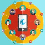 Social network flat illustration with avatars Stock Images