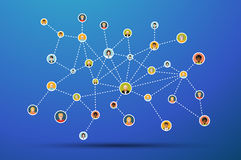Social network flat illustration on blue Stock Photography
