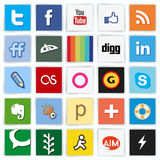 Social network flat multi colored icons. Set with like button. Vector illustration in .CS and .EPS10. Contain transparency Royalty Free Stock Images