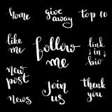 Social network follow me banner designs set. Calligraphy hand drawn text for bloggers. Blog lettering. vector illustration