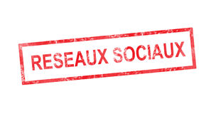 Social network in French translation in red rectangular stamp Stock Images