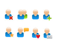 Social network friend icons. Icon set for social networks and communities with small user avatars and friend actions symbols Royalty Free Stock Images