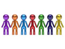 Social network friends character teamwork chain line people. Diverse friendship row individuality team seven different cartoon persons unity meeting icon Royalty Free Stock Photos