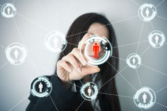 Social network on futuristic screen Royalty Free Stock Photo
