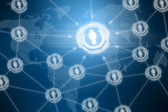 Social network futuristic touchscreen Stock Image