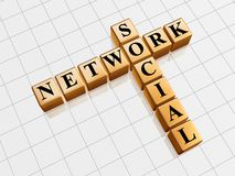 Social network - golden crossword Royalty Free Stock Images