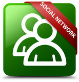 Social network group icon green square button Royalty Free Stock Images
