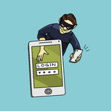 Social network hacker stealing password from smartphone screen, criminal on smart phone Royalty Free Stock Photos