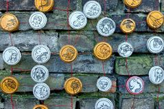 Social Network Handmade. Hadmade Social Network Icons on Brick Wall Royalty Free Stock Image