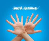 Social network. Happy group of finger faces as social network with speech Royalty Free Stock Images