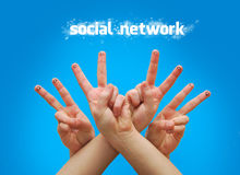 Social network. Happy group of finger faces as social network with speech Stock Image