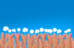 Social network. Happy group of finger faces as social network with speech Royalty Free Stock Photography
