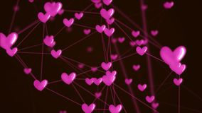 Social network heart connection with love icon structure. Social network heart connection with love icon structure pink color black background. Abstract stock photos