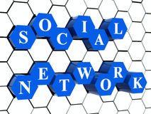 Social network - hexahedrons in cellular structure Royalty Free Stock Images