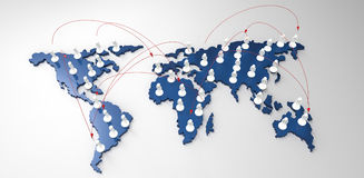 Social network human 3d on world map. As concept Royalty Free Stock Image