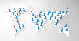 Social network human 3d on world map Stock Photo