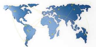 Social network human 3d on world map. As concept Royalty Free Stock Photography