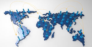 Social network human 3d on world map. As concept Stock Image