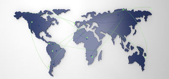 Social network human 3d on world map. As concept Stock Photography
