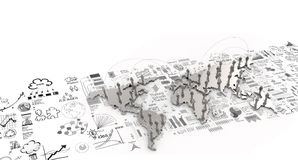 Social network human 3d on world map and hand drawn business str. Ategy as concept Stock Image