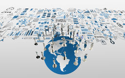 Social network human 3d on the world map and hand drawn business. Strategy as concept Royalty Free Stock Photos