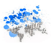 Social network human 3d on world map Stock Images