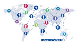 Social network icon map Stock Photo