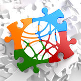 Social Network Icon on Multicolor Puzzle. Stock Images