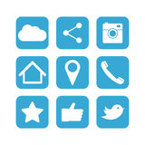 Social network icon set. Flat designs Royalty Free Stock Photo