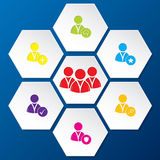 Social network icon set in hexagon shapes Stock Images
