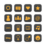 Social network icons. Set of sixteen social network icons isolated on white background.EPS file available Royalty Free Stock Photos