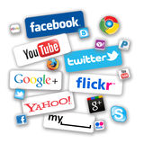 Social Network Icons. With the production of smaller mobile computers like Apple iPads and larger capacity iPhones it it now possible to these these to  brows Stock Images