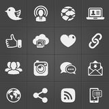 Social network icons on black set. Vector royalty free illustration