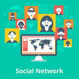 Social network icons composition poster Stock Images