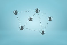 Social network icons connected by dotted lines on blue background Stock Photography