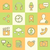 Social network icons flat line Royalty Free Stock Photo