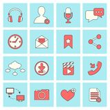 Social network icons flat line Royalty Free Stock Photography