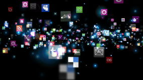 Social Network Icons fly stock video footage