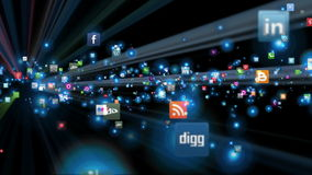 Social Network Icons fly, shine stock footage