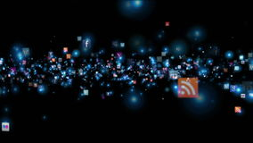 Social Network Icons flying stock footage