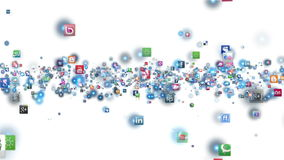 Social Network Icons flying. White