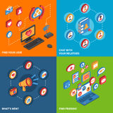 Social Network Icons Isometric Set Royalty Free Stock Photography
