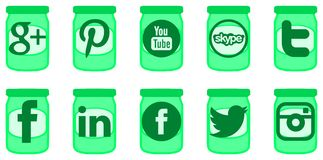 Social network icons on jars of jam Stock Photo