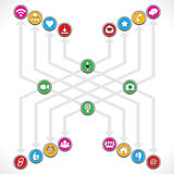 Social Network icons mage a group. Stock Stock Photos