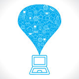 Social Network Icons make a Ballon on laptop. Stock Royalty Free Stock Photo