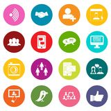 Social network icons many colors set Stock Photo