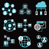 Social network icons, network and communication icons Royalty Free Stock Photo