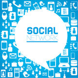 Social network. Icons over blue background vector illustration Stock Photography