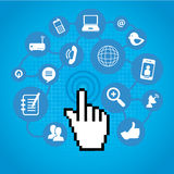 Social network. Icons over blue background vector illustration Royalty Free Stock Photos